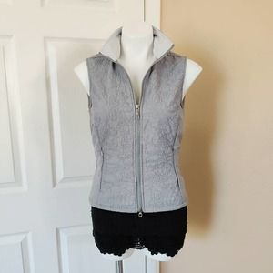 Lucy floral quilted fleece lined gray vest sz S